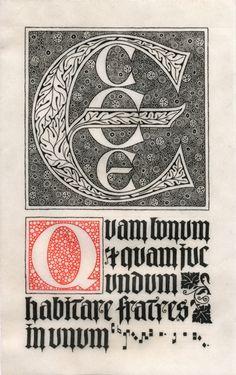 Ecce Quam Bonum Illuminated Letters, Illuminated Manuscript, Vintage Typography, Typography Layout, Celtic Fonts, Artist And Craftsman, Design Editorial, Letter Art, Calligraphy Letters