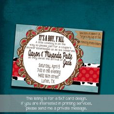 Western Themed BabyQue Shower Invitation by JKandElle on Etsy, $15.00