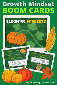 "These fall themed boom cards will get your students in the mood to choose a growth mindset for a successful year. With a positive ""can do"" attitude, students can see an increase in their mood and grades. #growthmindset #boomcards #thecounselingteacherbrandy #growthmindsetactivitiesforkids"