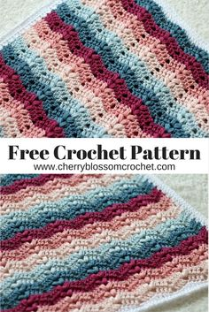 I am so excited to be releasing this brand new pattern for you today, this is a beautiful crochet ripple blanket with bobbles which is pe. Crochet Geek, Crochet Crafts, Easy Crochet, Crochet Baby, Free Crochet, Crochet Hooks, Chevron Crochet, Crochet Ideas, Crochet Ripple Blanket