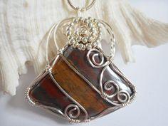 Wire Wrapped, Jewelry, Handmade, Tiger Eye, Pendant, elainesgems, 246431 by elainesgems, $25.00 USD
