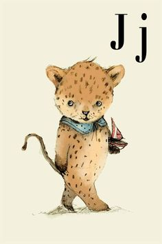 J for Jaguar Alphabet animal  Print 4x6 inches by holli on Etsy