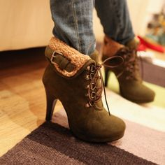 2013 Hot Army Green Lace Up Boots Army Green High Heel Boots Lace Up Ankle Boots