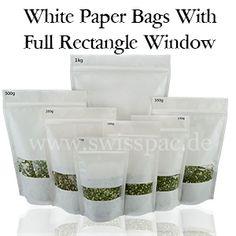 Kraftpapier weiß mit transparentem Sichtstreifen http://www.swisspac.de/weise-papiertuten/