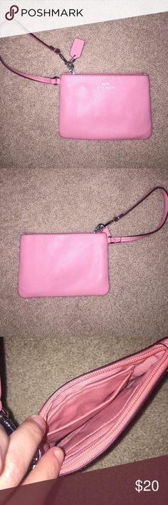 Light Pink Coach Wristlet Barely used fits an iPhone 6 along with cash and cards Coach Bags Clutches & Wristlets