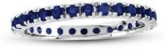 Suzy Levian 14k White Gold Sapphire Eternity Band Ring.