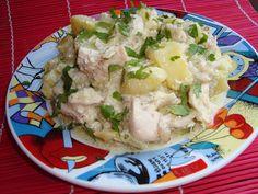 Piept de pui cu cartofi in sos alb - CAIETUL CU RETETE Broccoli, Potato Salad, Potatoes, Ethnic Recipes, Food, Gratin, Potato, Essen, Meals