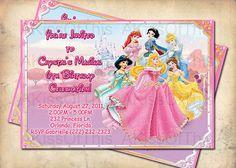 Disney Princess Pink Birthday Invitation