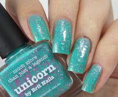 Unicorn is a glimmering turquoise base with a shot of pink shimmer running through it.