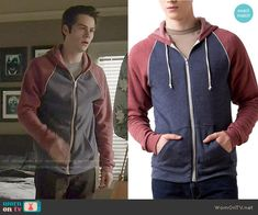 Stiles's red and navy hoodie on Teen Wolf. Outfit Details: http://wornontv.net/50583/ #TeenWolf
