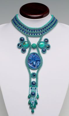 Jewelry Design - Bib-Style Necklace with Gemstone Beads and Cabochons, Seed Beads and Swarovski Crystal Rivoli Sew-Ons and Seed Beads - Fire Mountain Gems and Beads