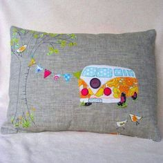Campervan Cushion Cover Home is wherever you want it to be in this sweet retro camper-van. Perfect to decorate your home from home this linen cushion is backed with striped canvas, appliquéd in bright coloured cotton fabrics and free machine embroi. Applique Cushions, Cute Cushions, Sewing Pillows, Fabric Art, Fabric Crafts, Sewing Crafts, Sewing Projects, Free Motion Embroidery, Machine Embroidery