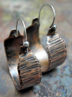 Copper Hoops, Distressed Wood, with Sterling Silver earwires, ThePurpleLilyDesigns. $26.00, via Etsy.