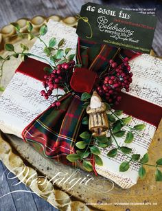 Holiday Decorating Ideas And More From Celebrating Everyday Life with Jennifer Carroll - Atta Girl Says. Love the combination of sheet music paper with plaid ribbon. Tartan Christmas, Noel Christmas, Winter Christmas, All Things Christmas, Christmas Crafts, Christmas Decorations, Xmas, Holiday Decorating, Decorating Ideas
