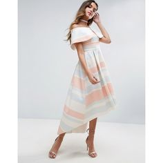 ASOS Pastel Stripe Deep Fold Debutante Dress (€85) ❤ liked on Polyvore featuring dresses, multi, round hem dress, asos dresses, curved hem dress, striped dress and striped off the shoulder dress