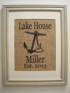 Burlap,Lake House Burlap Print,Burlap Lake House Monogram,House Warming Gift,Burlap Art,Burlap Save the Date,Lake House Anchor Monogram