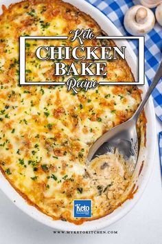 This Easy Keto Chicken Bake recipe is one delicious low carb casserole, loaded with mushrooms, spinach, and a creamy sauce. It's a quick and easy dinner to feed the whole family. Serve this gluten free, grain free chicken bake tonight. Best Gluten Free Recipes, Whole 30 Recipes, Low Carb Recipes, Baking Recipes, Healthy Recipes, Keto Casserole, Casserole Dishes, Casserole Recipes, Casserole Ideas