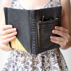 Use this tutorial to make a denim book cover complete with a utility pocket.