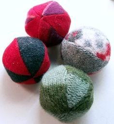 dryer balls made from recycled sweaters http://nightowlsmenagerie.blogspot.com/2008/12/how-to-make-sewn-dryer-ball-from.html