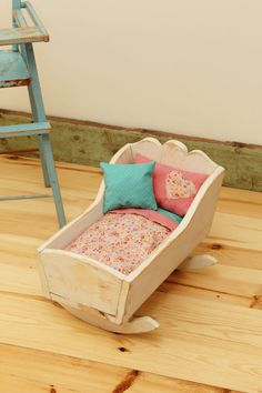 Vintage Doll Cradle with Bedding. Shabby Chic Doll by FALLandFOUND