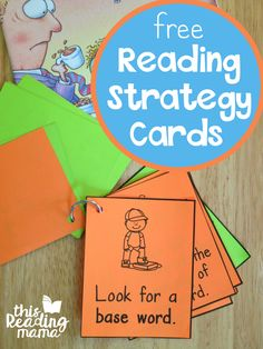 Free Reading Strategy Cards. Great for guided reading groups!