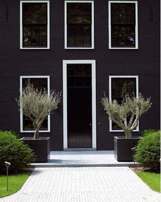 Exterior Paint Colors - You want a fresh new look for exterior of your home? Get inspired for your next exterior painting project with our color gallery. Interior Exterior, Exterior Colors, Exterior Paint, Exterior Design, Black Exterior, Beautiful Front Doors, Villa, Brick Facade, Front Door Design