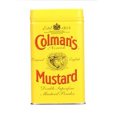 Colmans Dry Mustard Powder- 4 oz - Case of 6 - Double superfine mustard powder great for spicing up salads, vinaigrette dressings and mayonnaise, as well as adds a kick to many sweet and savoury dishes.Ingredients: Mustard flour. Organic: NA Gluten Free: No Dairy Free: No Yeast Free: No Wheat Free: No Vegan: No Kosher: Yes GMO Free: NA Summer Melt Risk? No Country Origin: NA Dimensions: 21 in. L x 10.5 in. W x 14 in. H Pack: 6 Size: 4 OZ Selling Unit: case. Health Beauty > Food. Weight: 2.22