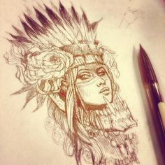 Indian With Wolf Headdress Wolves gotta eat, another custom indian jam coming up