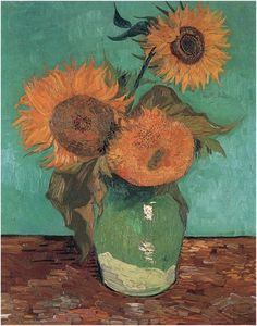 Three Sunflowers in a Vase by Vincent Van Gogh Painting, Oil on Canvas  Arles: August, 1888 http://www.vangoghgallery.com/catalog/Painting/617/Three-Sunflowers-in-a-Vase.html