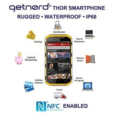 Getnord Thor is a real NFC (Near Field Communication) phone, allowing your handset to communicate with other devices and accessories equipped with NFC technology. NFC is an easy and intuitive technology that allows you to use your mobile phone for special purposes. An NFC tag can share and link to information such as web pages, social media and all other sorts of other information generally. Other areas where NFC is starting to evolve into are making payments, opening doors secured with… Thor, Smartphone, Social Media, Phones, Internet, Link, Easy, Accessories, Technology