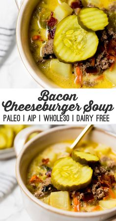 Paleo Bacon Cheeseburger Soup (AIP, Dairy free) - Food Recipes - Home L. Paleo Bacon Cheeseburger Soup (AIP, Dairy free) – Food Recipes – Home Living – Decor Paleo Bacon, Paleo Soup, Paleo Chicken Soup, Paleo Chili, Chicken Casserole, Casserole Recipes, Whole Foods, Paleo Whole 30, Paleo Recipes