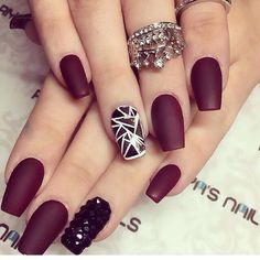 Matte Burgundy Nails - shape, no accent nail