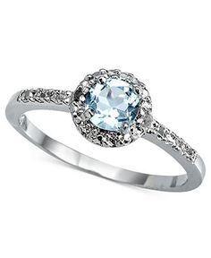 Victoria Townsend Sterling Silver Ring, Blue Topaz (1/2 ct. t.w.) and Diamond Accent Circle Ring - FINE JEWELRY - Jewelry & Watches - Macy's
