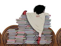 (ilustración de Charlotte Gastaut) How high we can climb by reading books!