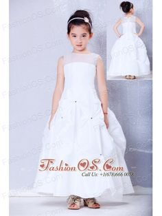 Lovely White A-line Bateau Beading Flower Girl Dress Ankle-length Taffeta and Organza  http://www.fashionos.com  http://www.facebook.com/quinceaneradress.fashionos.us  Stunning and fabulous! This white dress is surely a good choice for your little princess. It features tulled straps with round neckline. The pick up skirt is decorated with glittery beading, which draws more attention to the whole dress.