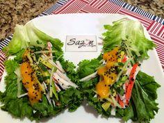 Una idea muy fresca y deliciosa.Ingredientes necesarios:Para 6 tacos* 6 hojas de lechuga grandes* 6 barras de surimi hecho hilos* 1 pepino chico cortado en tiras delgadas* 1/2 aguacate en tiras del…