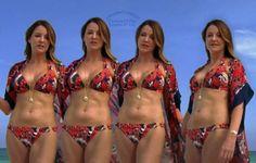 Med hennesslank kropp og Lysebrun hårtype uten BH (BH-størrelse ) på stranda i bikini
