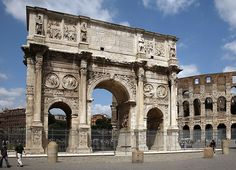 The Arch of Constantine - Rome - 315AD - extensive use of 'spolia' fragments of earlier monuments and buildings