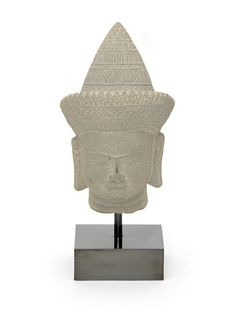 Asian Style Stone Statue Head on Metal Base - $350
