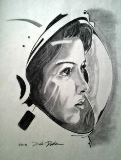 ORIGINAL Charcoal Artwork Astronaut Female by KnitLaughWine, $50.00