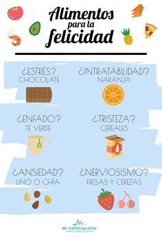 ¡Aquí están los alimentos capaces de alegrarte el día! Alimentos para la felicidad.