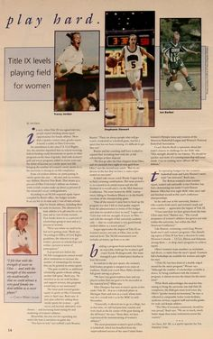 """Ohio University Today, Fall-Winter 1998. """"Title IX levels playing field for women."""" :: Ohio University Archives"""