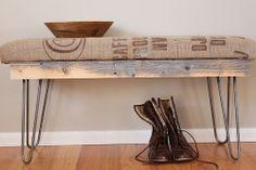 Reclaimed Wood Burlap Coffee Sack Bench
