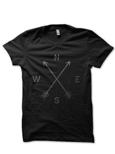 COMPASS TEE BY COYOTE ALERT #TEE #NORTH #SOUTH #EAST #WEST #MAPS #ARROWS