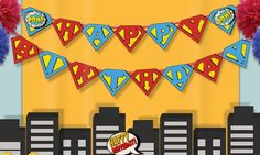 INSTANT DOWNLOAD - Superhero Happy Birthday Banner- Super Hero - Superhero Birthday Party bunting banner decoration  - Superman logo
