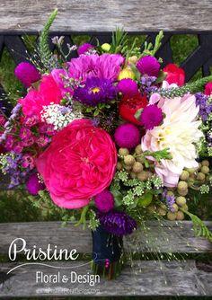 Wildflower Bridal Bouquet  Designed using Dahlia, Garden Roses, Veronica, Gomphrena, Lanquinosa, & more   https://www.facebook.com/PristineFloralDesign  http://pristinefloral.com/