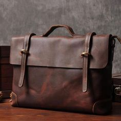 Genuine Leather Mens Cool Messenger Bag Briefcase Work Bag Business Ba –  iwalletsmen Briefcase For Men cdad2ebe0789c