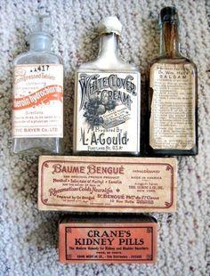 Saved by Jessie Jay Mademann (jessiejaytlp) on Designspiration Discover more Pharmacy Vintage Bottles Packaging inspiration. Apothecary Bottles, Antique Bottles, Vintage Bottles, Bottles And Jars, Vintage Labels, Vintage Ads, Apothecary Bathroom, Vintage Oddities, Vintage Ephemera