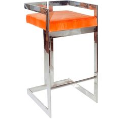 Worlds Away Hearst Orange with Nickel Bar Stool ($1,050) ❤ liked on Polyvore featuring home, furniture, stools, barstools, metallic furniture, orange furniture, worlds away furniture, contemporary stool and contemporary barstools