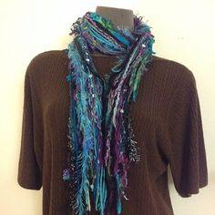 Fun scraggle scarf in variegated jewel tone colors
